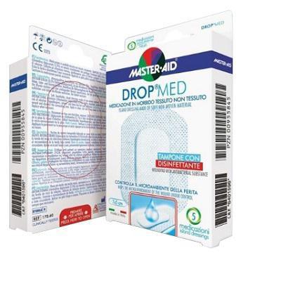 master•aid drop med medicazione traspirante in tessuto non tessuto, dotata di un tampone assorbente con sostanza disinfettante